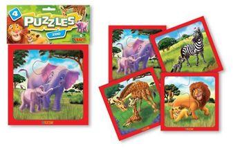 Imagen de 4 Puzzles 4 piezas - Zoo